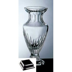 "Vision Vase on a Black Base - Italian Lead Crystal (14 1/4""x7""x7"")"