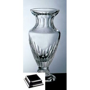 "Vision Vase on a Black Base - Italian Lead Crystal (13""x7""x7"")"