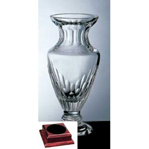 "Vision Vase on a Rosewood Base - Italian Lead Crystal (14 1/4""x7""x7"")"